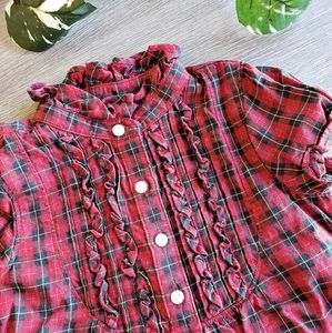 Ralph Lauren Button Ruffled Top Red Plaid Dress